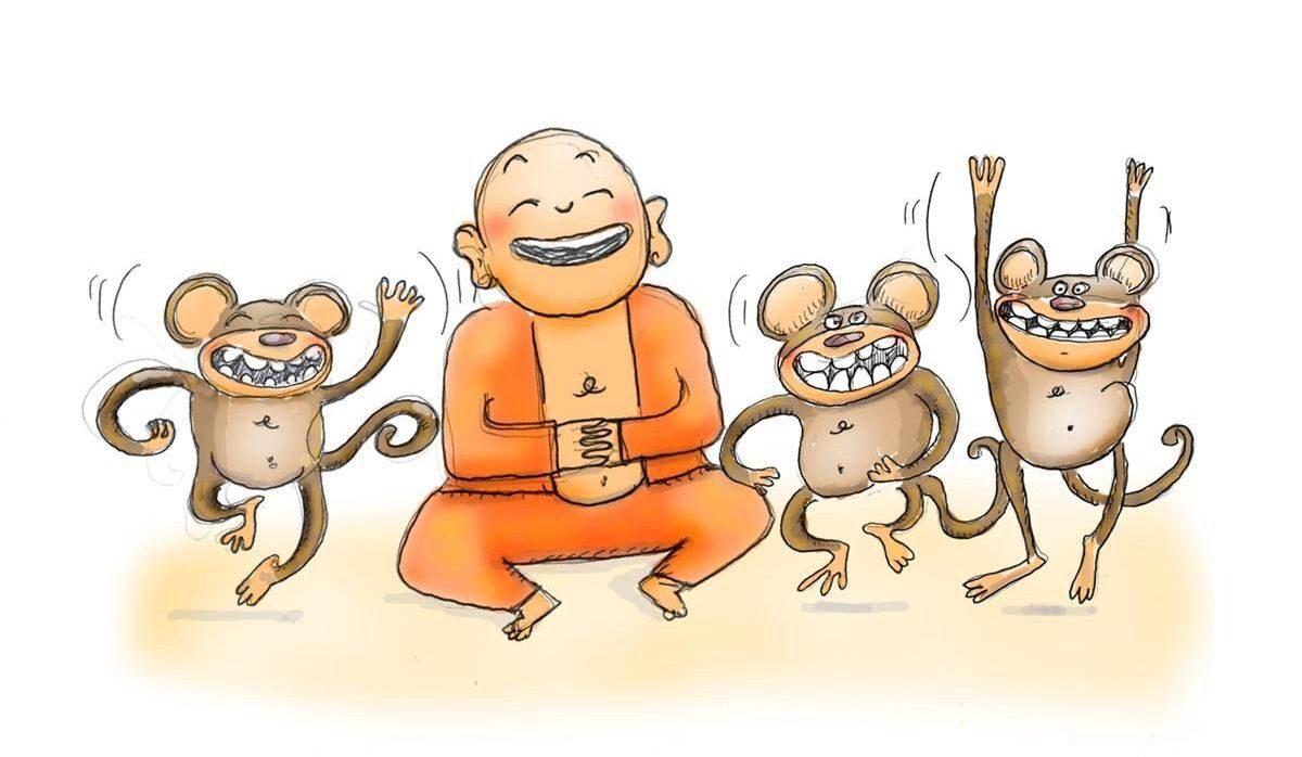 in einem cartoon springen drei affen um einen Mönch in Achtsamkeit herum
